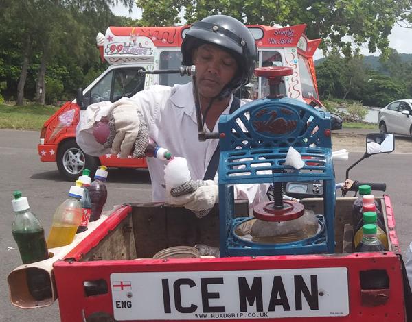 Ice man at Mahebourg waterfront